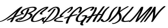 SF Foxboro Script Extended Bold Italic Font UPPERCASE