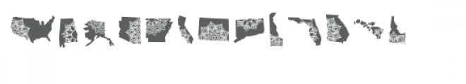 50 states mandala dingbat font Font UPPERCASE