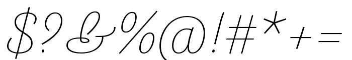 Arlette Thin Italic Font OTHER CHARS