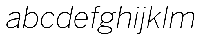 Benton Sans Condensed Extra Light Italic Font LOWERCASE