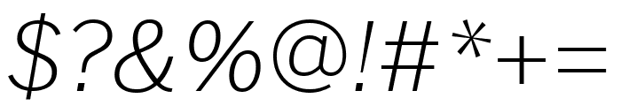 Benton Sans Extra Compressed Extra Light Italic Font OTHER CHARS