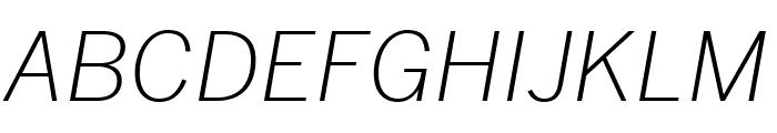Benton Sans Extra Compressed Extra Light Italic Font UPPERCASE