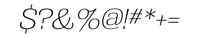 Grange Extra Light Condensed Italic Font OTHER CHARS