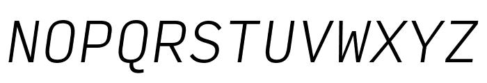 Input Mono Condensed Extra Light Italic Font UPPERCASE