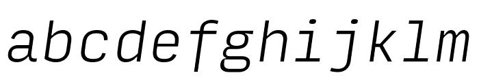 Input Mono Condensed Extra Light Italic Font LOWERCASE