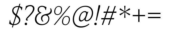 IvyPresto Text Thin Italic Font OTHER CHARS