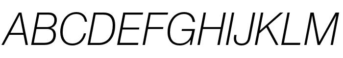Neue Haas Grotesk Display Pro 36 Extra Light Italic Font UPPERCASE
