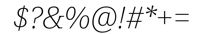 Noto Serif SemiCondensed ExtraLight Italic Font OTHER CHARS