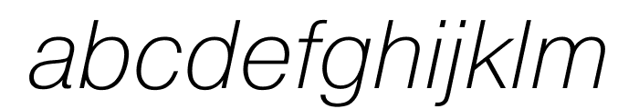 Pragmatica Extended Extra Light Oblique Font LOWERCASE
