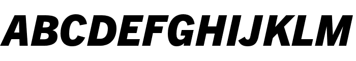 Trade Gothic Next LT Pro Heavy Condensed Italic Font UPPERCASE