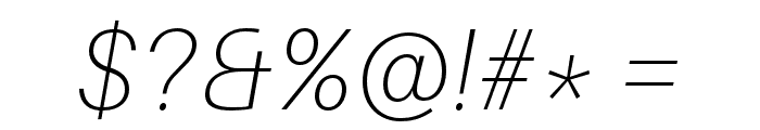 Aileron Thin Italic Font OTHER CHARS