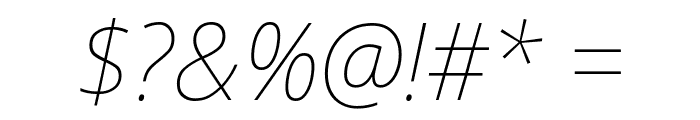 Avrile Sans Thin Italic Font OTHER CHARS