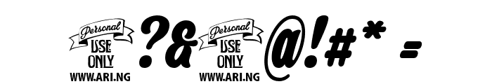 Backpack Personal Use Font OTHER CHARS
