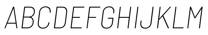 Barlow Semi Condensed Thin Italic Font UPPERCASE