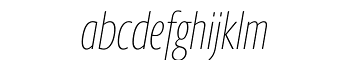 Berlingske Sans Extra condensed Thin Italic Font LOWERCASE
