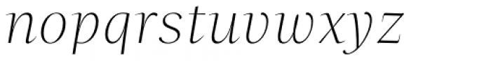 Beletria Large Extra Light Italic Font LOWERCASE