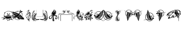 Bird Stencil Design Font LOWERCASE