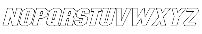 Blitzwing Extended Hollow Italic Font LOWERCASE