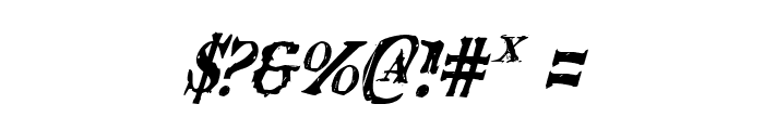 Blood Crow Condensed Italic Font OTHER CHARS