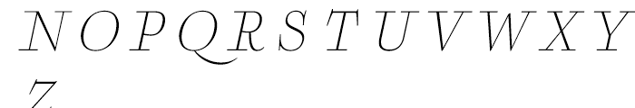 Boncaire Titling Thin Italic Font LOWERCASE