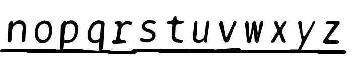BPtypewriteDamagedUnderscored Italic Font LOWERCASE