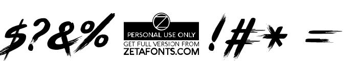 BRUSHSTRIKE Font OTHER CHARS
