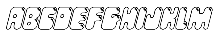 Bubble Butt Outline Italic Font LOWERCASE
