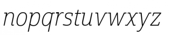 Cabrito Semi Condensed Thin Italic Font LOWERCASE