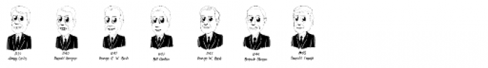 Cartoon US Presidents Dingbats Font UPPERCASE