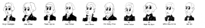 Cartoon US Presidents Dingbats Font LOWERCASE
