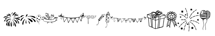 Happy Independence Day Doodles Font LOWERCASE