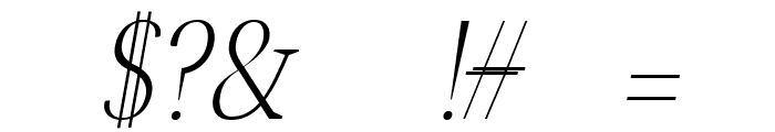 Jerrick Light Italic Font OTHER CHARS