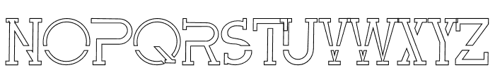 Perky Area Outline Font UPPERCASE