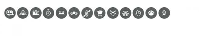 cg camping circle sticker dingbats Font LOWERCASE