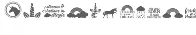 cg unicorn & rainbows dingbats font Font LOWERCASE