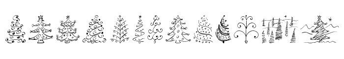 Christmas Trees Celebration Font UPPERCASE