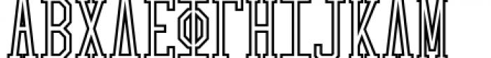 Collegiate Greek Monograms Outline Three Font UPPERCASE