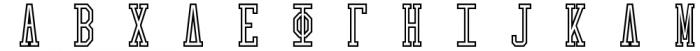 Collegiate Greek Monograms Outline Font LOWERCASE