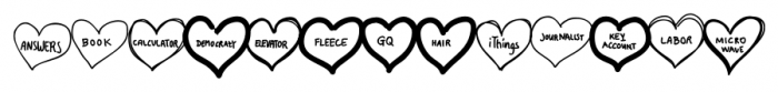 Conversation Hearts Sweethearts Font UPPERCASE