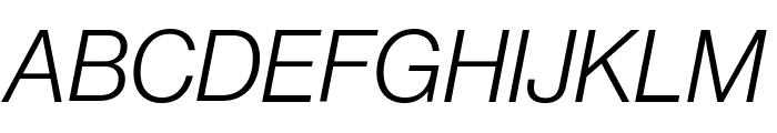 NeueHaasGrotDisp 46LightItalic Reduced Font UPPERCASE