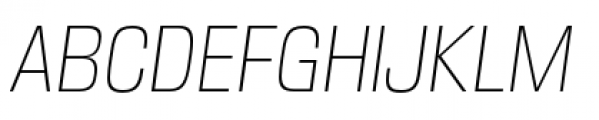 DDT Condensed Extra Light Italic Font UPPERCASE