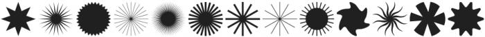 Designer Dingbats Sunbursts and Squiggles otf (400) Font UPPERCASE
