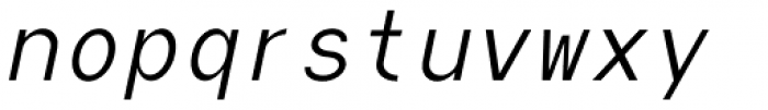 Die Monospaced Hubbuch Light Italic Font LOWERCASE