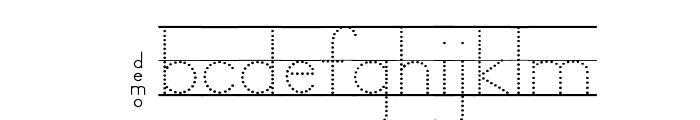 DmoZBPrintDotLine Font LOWERCASE