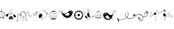 DOODLE DINGS 1 Birds Cages Font UPPERCASE