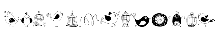 DOODLE DINGS 1 Birds Cages Font LOWERCASE