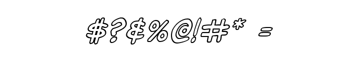 Domino Mask Outline Italic Font OTHER CHARS