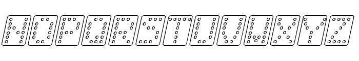 Domino bred kursiv omrids Font UPPERCASE