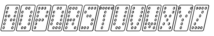 Domino smal kursiv omrids Font UPPERCASE