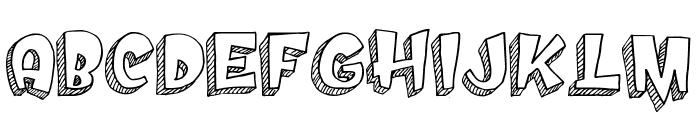 Doodletoon line Font UPPERCASE